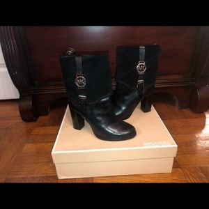 Black Michael Kors Leather Booties